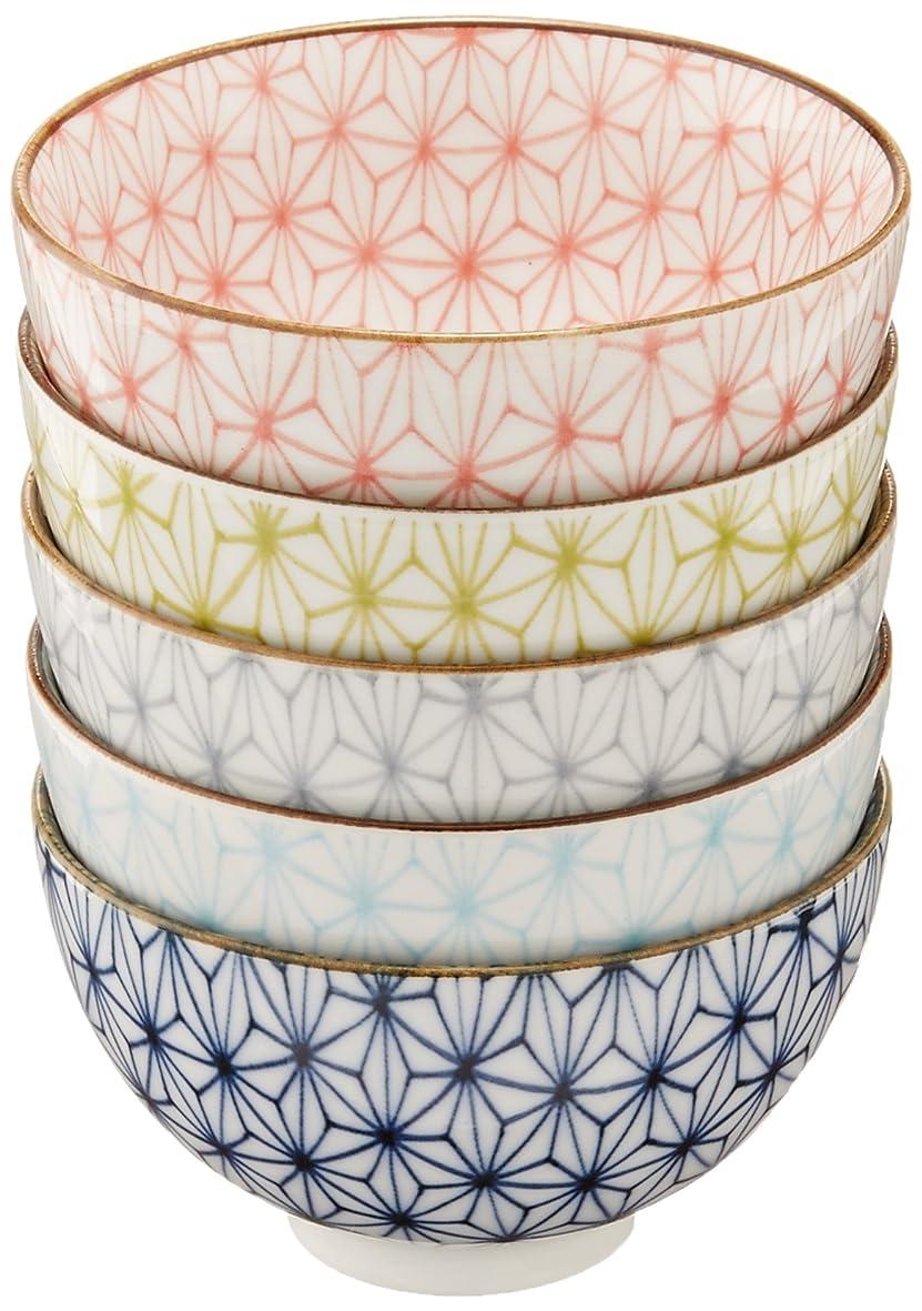 宝石主流矢印麻の葉 ご飯茶碗 5個セット 美濃焼