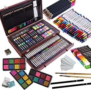 143 Piece Deluxe Art Set,Artist Drawing&Painting Set,Art Supplies with Wooden Case,Professional Art Kit for Kids,Teens and Adults