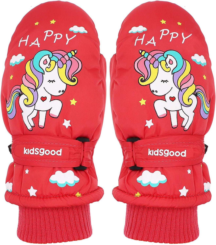 Cute Unicorn Kids Boys Girls Winter Mittens Waterproof Warm Fleece Lined Thermal Snow Ski Mitten Gloves Age 2-8
