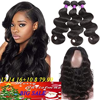 360 Lace Frontal Closure with Bundles 8A Brazilian Body Wave Virgin Hair 3Bundles with 360 Lace Frontal Unprocessed Human Hair Weft With 360 Frontal (12 14 16 +10, Natural Color)