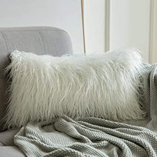 MIULEE Decorative New Luxury Series Style White Faux Fur Throw Pillow Case Cushion Cover for Sofa Bedroom Car 12 x 20 Inch 30 x 50 cm