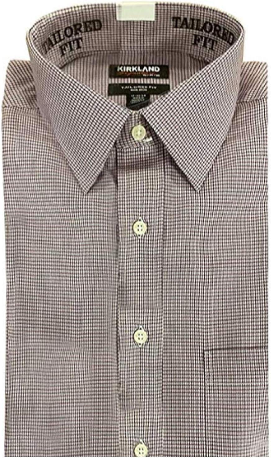 Kirkland Signature Men's Tailored Fit 100% Cotton Non-Iron Spread Collar Dress Shirt, Red Mini Grid