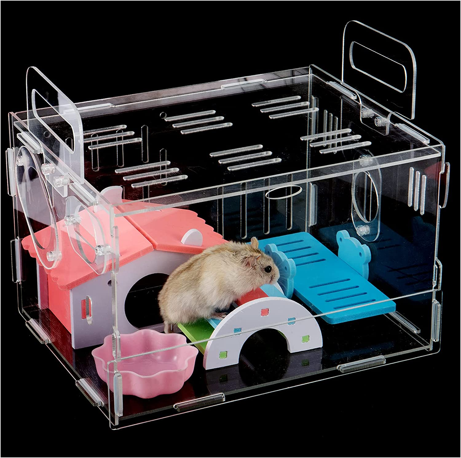 Acrylic Los Angeles Mall Clear Hamster Palace Cage with Toys- DIY Bonus Pet Small Genuine Free Shipping