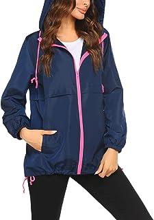 Women's Waterproof Raincoat Lightweight Rain Jacket Hooded Windbreaker with Pocket for Outdoor