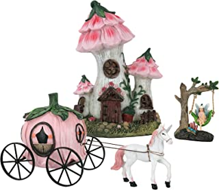 LA JOLIE MUSE Resin Fairy Garden - Miniature Floral Roof Cottage with Solar LED Lights, Fairy House Figurine Set of 3 with...