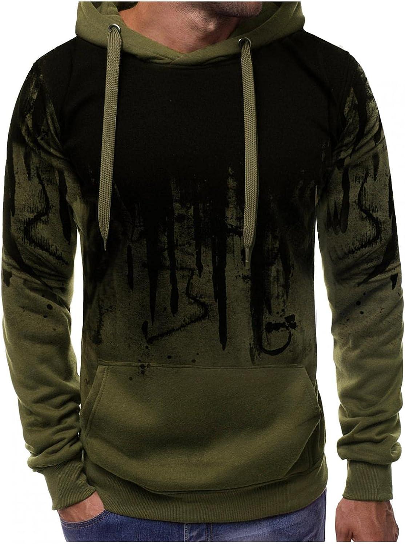 Hoodies for Mens Mens's Ink-Splash Pocket Drawstring Printed Long-sleeve Hooded Sports Top Mens Hoodies & Sweatshirt Blouses