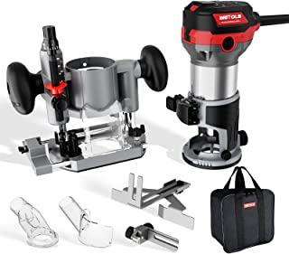 WETOLS Compact Router Tool Set, Fixed/Plunge Base Kit, 6 Variable Speed, 1-1/4-HP Max Torque,...