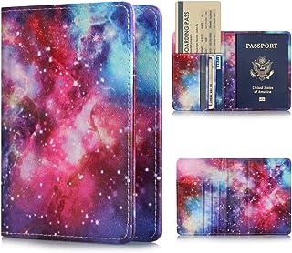 FUNUT PU Leather Passport Holder Cover Case Travel Passport Cards Carrier Wallet Case - Galaxy