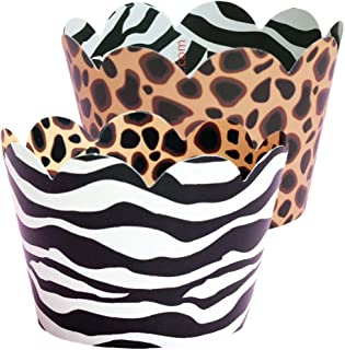Wild One Birthday Decorations, Safari Animal Print Cupcake Wrappers, 36 Holders, Jungle Theme Birthday, Zoo Themed Baby Shower, Cup Cake Wrap Decoration, Zebra Stripe Liners, Cheetah Bachelorette