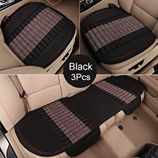 EifBrisa Car Front Seat Cushion Cover Pad Mat for Auto Supplies Office Chair Universal Anti-Slip, Natural Linen Fabric & Bamboo Charcoal Prevent Leather Seats from Against Winter Cold & Jeans Fading