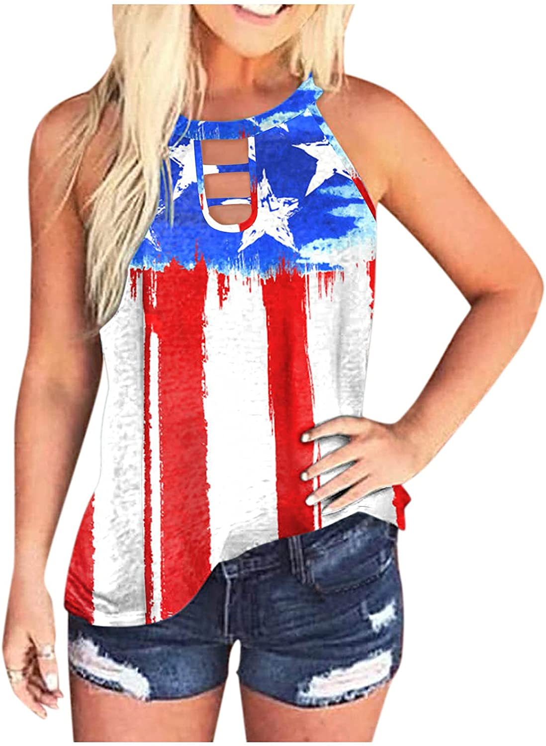 AODONG Tank Tops for Women Summer Sunflower Cute Printed Vest Tshirt Sleeveless Workout Blouse Casual Tank Top 4th of July