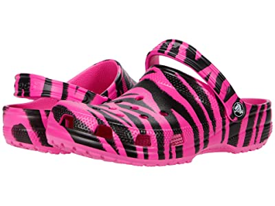 Crocs Kids Classic Out of This World Clog (Toddler/Little Kid/Big Kid) (Electric Pink/Black) Girl