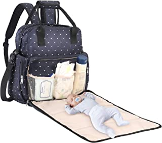 Baby Diaper Bag, SAWNZC Large Baby Bag Tote Multi-functional Travel Backpack Maternity Nappy Shoulder Bag with Changing Mat, Insulated Pockets-Blue