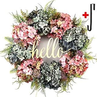 Hydrangea wreaths for front door,Outdoor summer wreaths for front door,Fall spring handmade Hello Wreath for Front Door,Farmhouse Wreath ,Rustic Wreath,Grapevine Wreath,Window Decoration (20 inches)