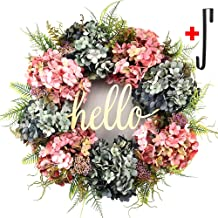 Hydrangea wreaths for front door,Outdoor summer wreaths for front door,Fall spring handmade Hello Wreath for Front Door,Farmhouse Wreath ,Rustic Wreath,Grapevine Wreath,Window Decoration (20 inches)