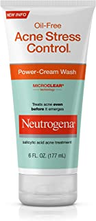 Neutrogena Oil-Free Acne Stress Control Power-Cream Face Wash, Salicylic Acid Acne Treatment for Acne-Prone Skin, 6 fl. oz (Pack of 3)
