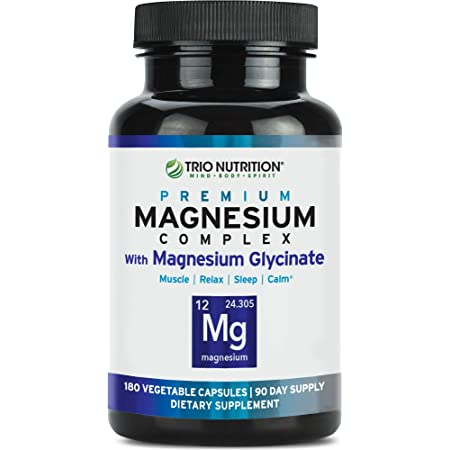 Trio Nutrition Magnesium Complex 90 Day Supply | Fresh Magnesium Glycinate Chelated, Vitamin B6 for Rapid Absorption - Max Calm, Sleep, Muscle, Relaxation & Recovery– Veggie Capsule, 100% DV