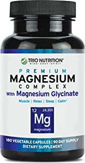 Magnesium Glycinate Complex - 90 Day Supply | Fresh Chelated with Vitamin B6 for Rapid Absorption - for Calm, Sleep, Muscle, Relaxation Revitalization & Recovery– Veggie Capsule, 100% Daily Value*