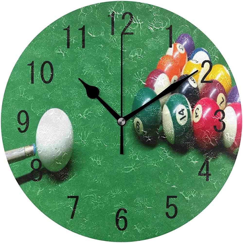 Decoración del hogar Bola de Billar Reloj de Pared Redondo Verde Reloj silencioso sin tictac: Amazon.es: Hogar