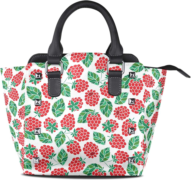 My Little Nest Women's Top Handle Satchel Handbag Doodle Raspberry Ladies PU Leather Shoulder Bag Crossbody Bag