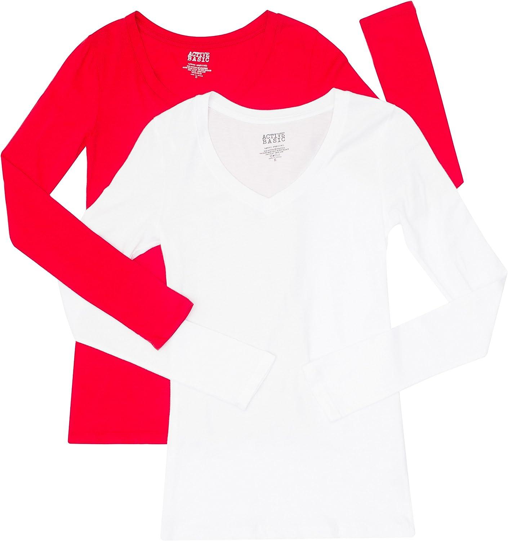 2 Pack Active Basic Women's Basic Long Sleeve V-Neck Tee White, Red