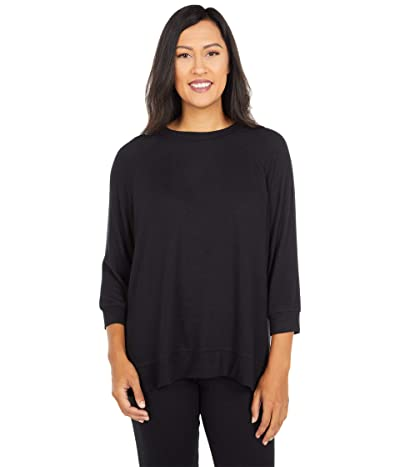 Donna Karan Brushed Sweater Jersey Sleep Top (Black) Women