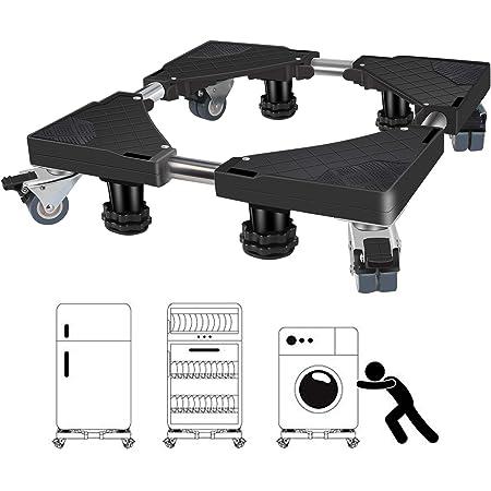 Socle Lave Linge, Winzwon 45cm-68cm Base de Machine à Laver Réglable Support Charge 300 kg Réduction du Bruit Effet Avec pour Réfrigérateur/Machine à Laver/Sèche-Linge (noir)