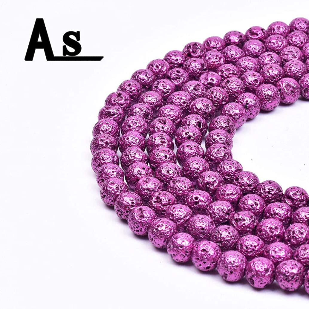 Asingeloo Natural Metallic Titanium Coated Lava Rock Volcanic Stone Beads for Jewelry Making Round Loose Spacer Beads 8mm Purple Gemstones 15