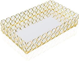 HighFree Mirrored Crystal Cosmetic Tray Vanity Makeup Tray Ornate Jewelry Trinket Tray Organizer...
