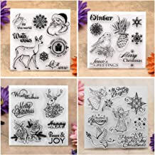 Kwan Crafts 4 Sheets Different Style Winter Christmas Santa Clear Stamps for Card Making Decoration and DIY Scrapbooking