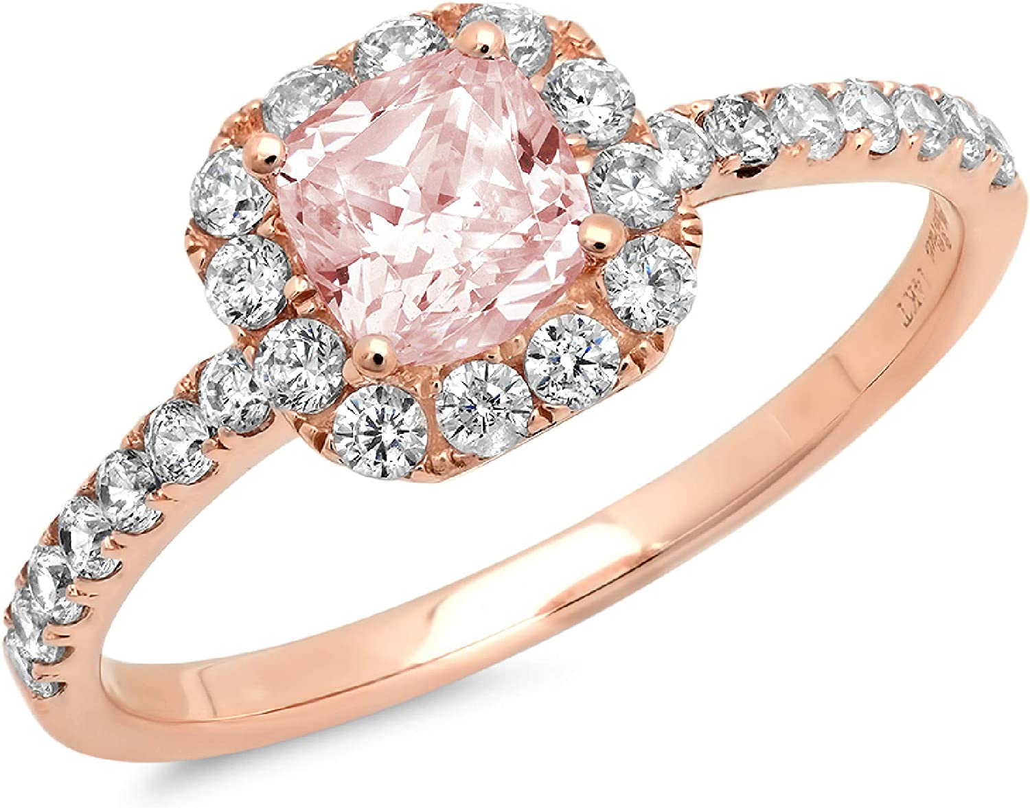 1.37ct Brilliant Princess Cut Solitaire with accent Pink Simulated Diamond CZ VVS1 Designer Modern Statement Ring Real Solid 14k Rose Gold Clara Pucci