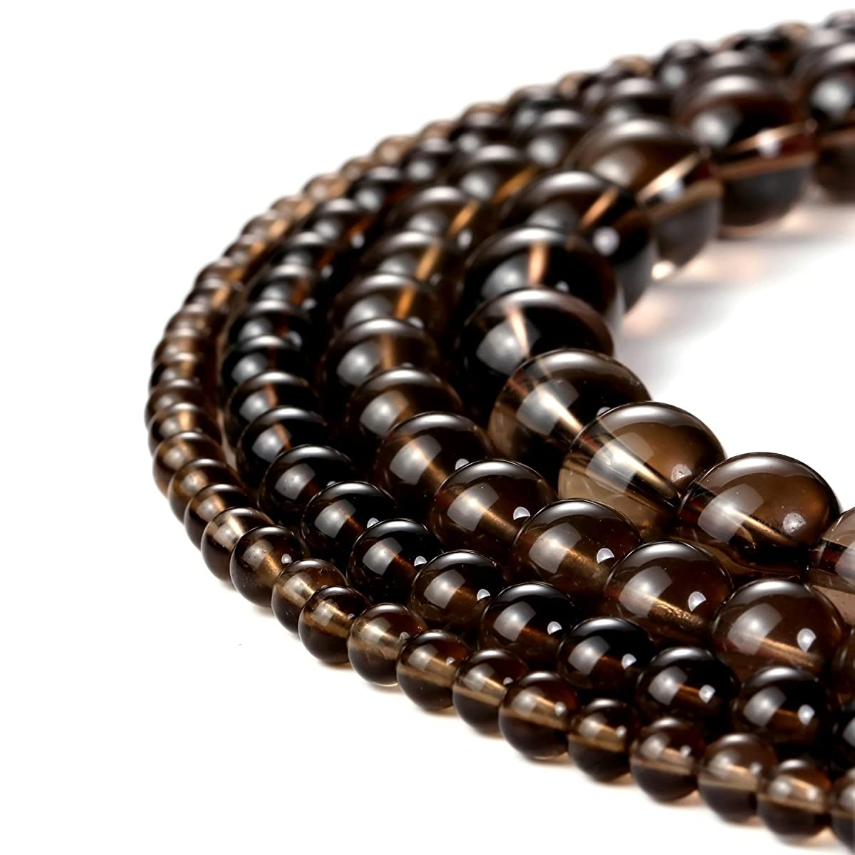 8mm Natural Smoky Quartz Beads Round Loose Gemstone Beads for Jewelry Making Strand 15 Inch (47-50pcs)