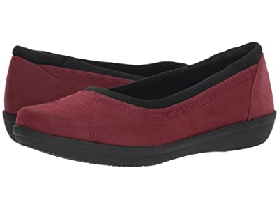 Clarks Ayla Low (Burgundy Synthetic Nubuck) Women