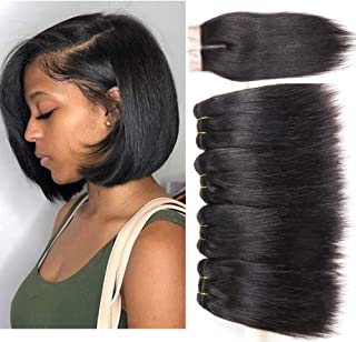 Peiyulex Brazilian Straight Hair 4 Bundles with Closure 9A Grade Unprocessed Virgin Brazilian Human Hair Weave Bundles with top Lace Closure Natural Black Color (8 8 8 8 closure8)