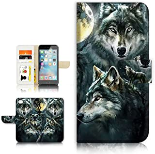 (For iPhone 8 Plus/iPhone 7 Plus) Flip Wallet Style Case Cover, Shock Protection Design with Screen Protector - B31043 Night Wolf