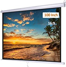 Pull Down Projector Screen 100 inch 16:9 Retractable Manual Projection Screen for Indoor Home Theater Cinema School Office, Wall/Ceiling Mounted Movie Screen