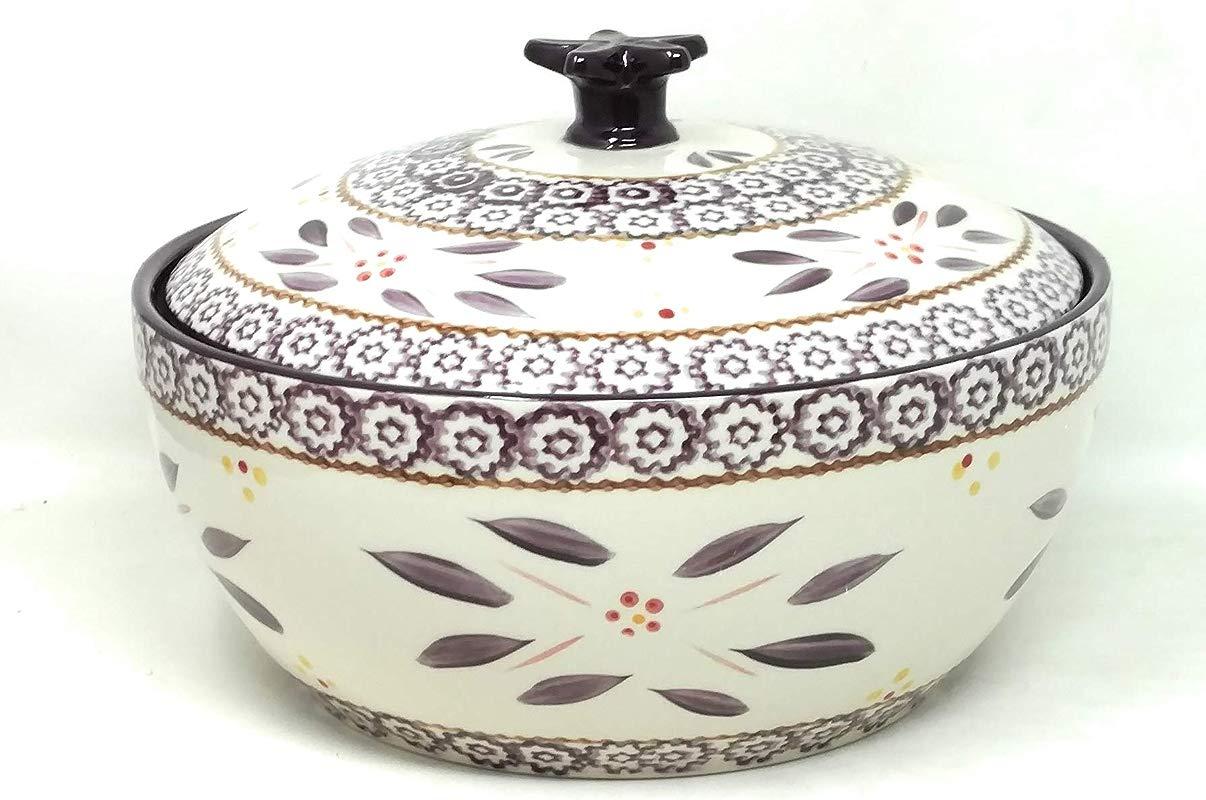 Temp Tations 3 Qt Round Baking Bowl With Lid Stoneware Old World Eggplant