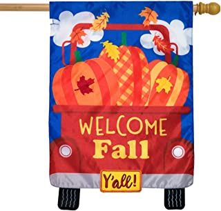 Briarwood Lane Welcome Fall Pickup Applique House Flag Pumpkins Autumn Double Sided 28