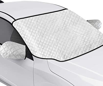 AURELIO TECH Magnetic Car Windshield Snow Cover with Side Mirror Covers for Ice Snow and Frost, Double Side Design, 4 Layers Protection, Extra Large, Fits Most Cars, Trucks, SUVs, Minivans: image