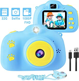 Kids Camera, 1080P 8MP Selfie Digital Kids Camera for Girls with 32GB SD Card Children Video Camera Birthday/Christmas/New Year Toy Gifts for 3 4 5 6 7 8 9 10 Year Old Girls (Blue)