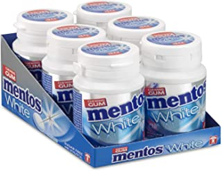 Mentos Gum White Sweet Mint, suikervrije kauwgom – verpakking van 6 potjes met 40 kauwgoms, muntsmaak voor een frisse adem