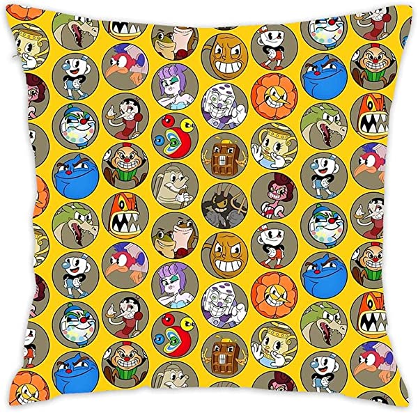 NEWcolor Throw Pillow Cover Spring Fashion Cushion Cover For Couch Cuphead Boss Pattern