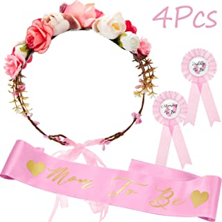 Baby Shower Sash, Mom to be Sash and Pin with Floral Crown for Mom and Dad Kit for Baby Shower Party Favors Decorations (Style Set 2)