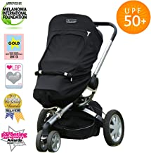 SnoozeShade Plus Stroller Sun Cover (6m+)   UV Sunshade for Baby Strollers & Joggers   Universal Fit for 3 & 4 Wheelers   Blocks 99% of The Sun's Rays