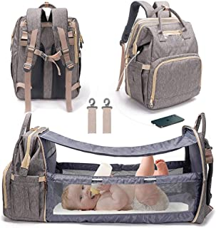 3 in 1 Travel Bassinet Foldable Baby Bed, Diaper Bag Backpack Changing Station, Waterproof, USB Charging Port, Baby Bag Portable Crib, Gray (Gray)