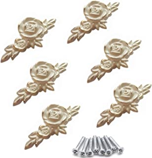 Ymaiss Euro Rose Cabinet Knobs with Backplate, Vintage Kitchen Zinc Alloy Flower Drawer Pull Handles for Dresser Vanity Ni...