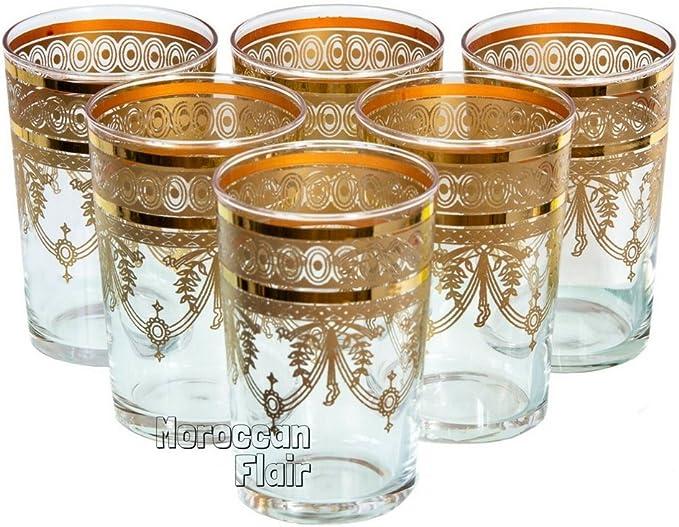 Tea Glasses Espresso Shot Glass Moroccan Handmade Turkish 6-pack Multi-Colored