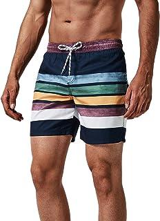 MaaMgic heren zwemshort FAST DRYING boardshort trainingsbroek met mesh voering en verstelbaar trekkoord, Marineblauwe stre...