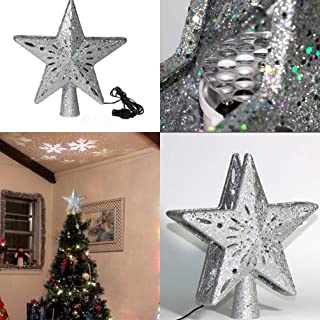Mobestech Star Christmas Tree Top Light LED Glitter Snowflake Projector Lights Party Light Up Star Lamp for Christmas Tree