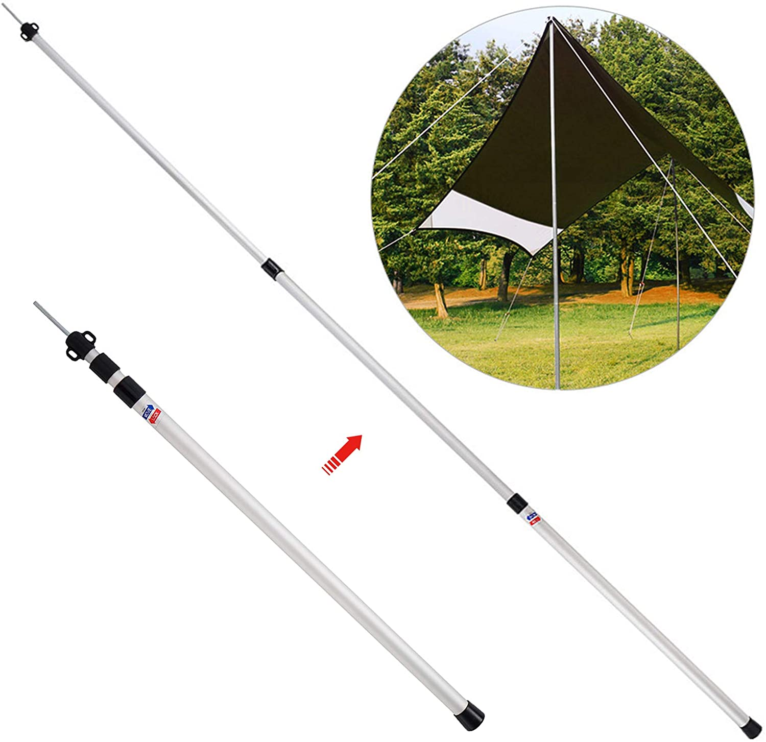 Roeam Thicken Aluminum Alloy Tent Pole Adjustable Tent Support Rods Beach Shelter Tarp Awning Pole Replacement Poles Accessories for Camping Hiking Backpacking Tent